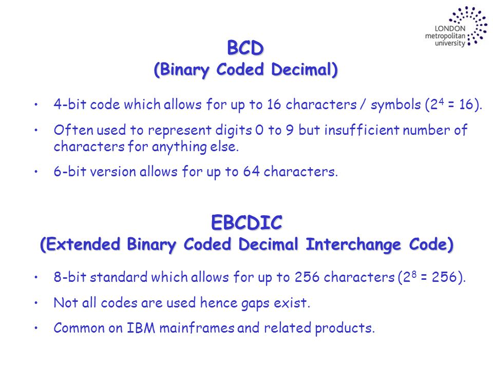 relationship between bcd and ebcdic