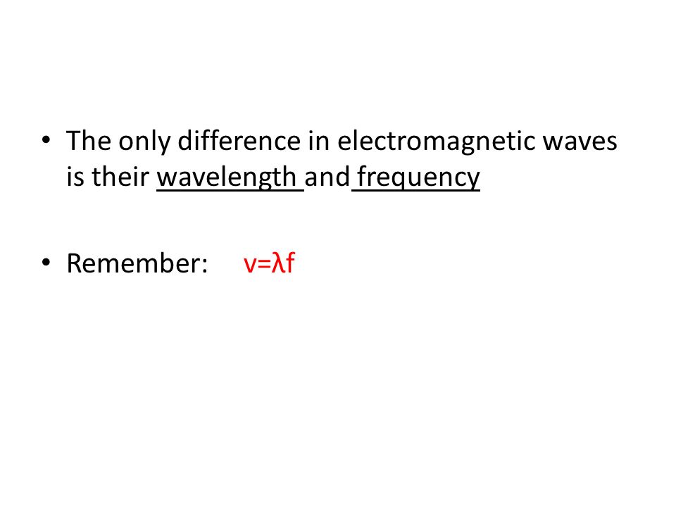 The only difference in electromagnetic waves is their wavelength and frequency