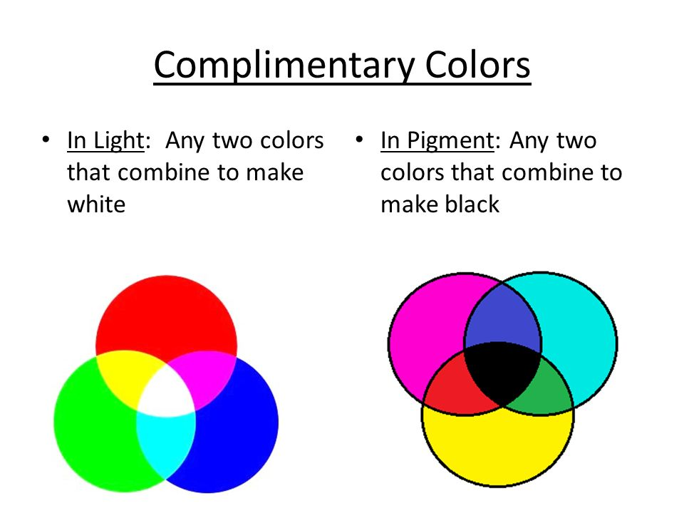 Complimentary Colors In Light: Any two colors that combine to make white.