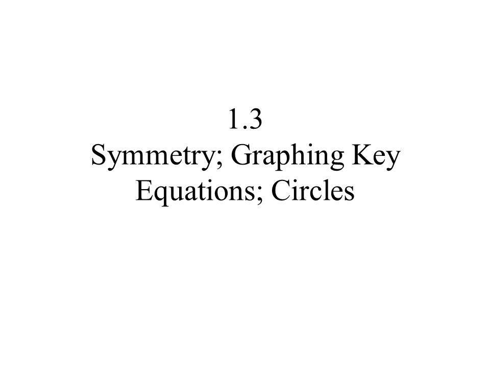13 Symmetry Graphing Key Equations Circles Ppt Video Online