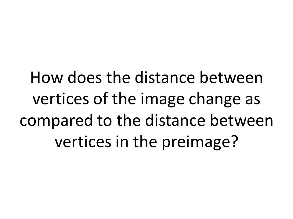 How does the distance between vertices of the image change as compared to the distance between vertices in the preimage
