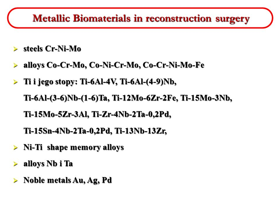 Metallic Biomaterials in reconstruction surgery