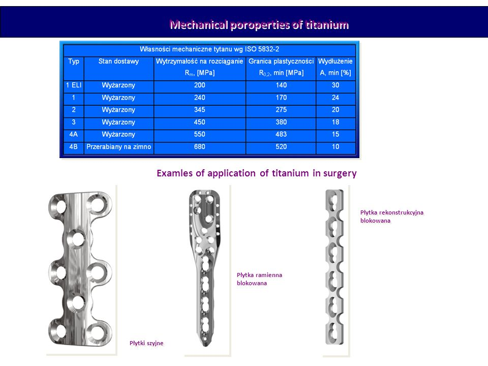 Mechanical poroperties of titanium