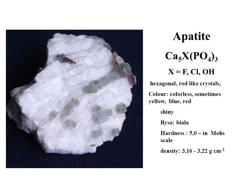 Apatite Ca5X(PO4)3 X = F, Cl, OH hexagonal, rod like crystals,
