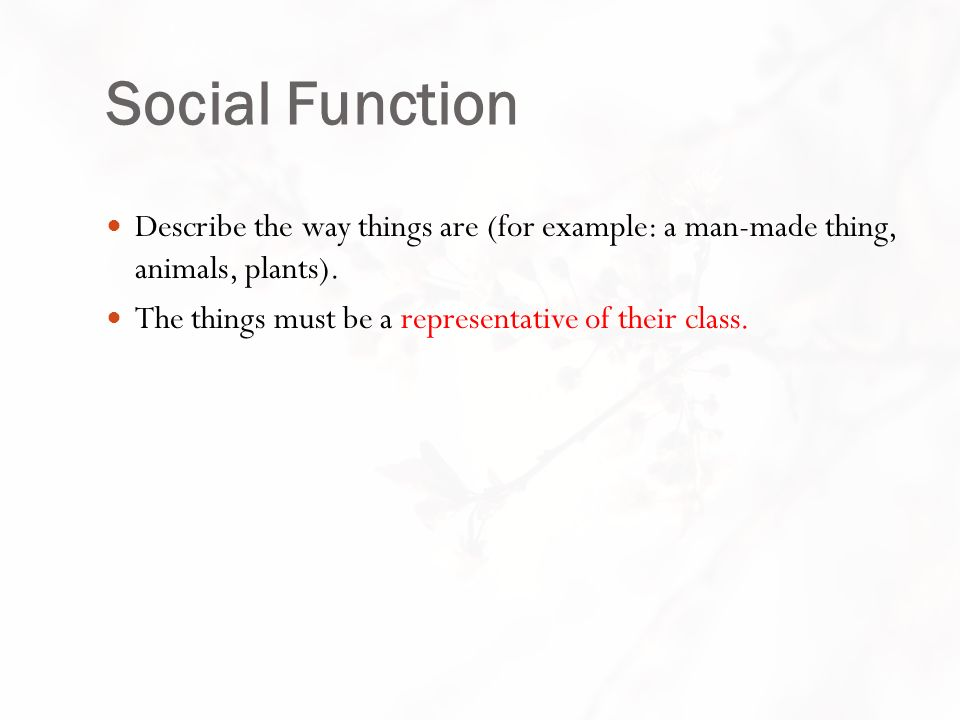 Social Function Describe the way things are (for example: a man-made thing, animals, plants).