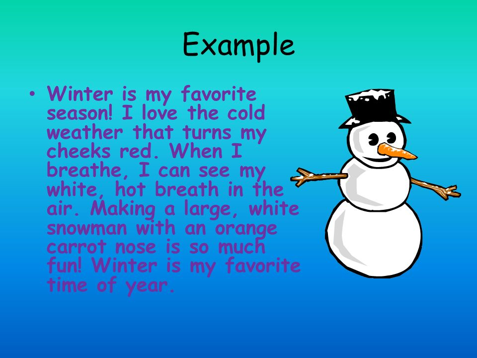 essay on my favourite season winter Personal narrative - my favorite seasons: summer and winter title length color rating : why summer is my favorite season of the year essay - my favorite season of the year is summer because.