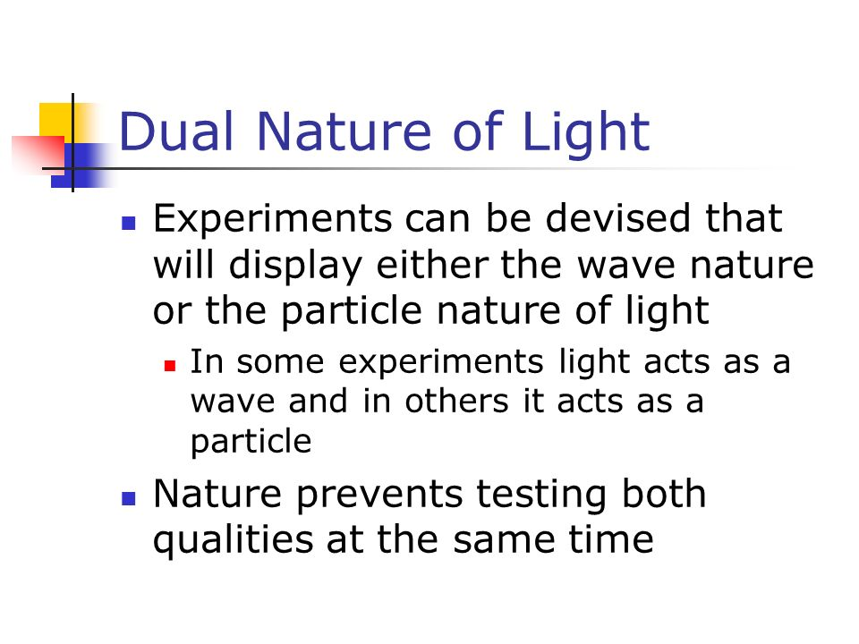 dual nature of light We now see that light can also be modeled as particles—massless photons of discrete energy and momentum we call this twofold nature the particle-wave duality , meaning that em radiation has properties of both particles and waves.