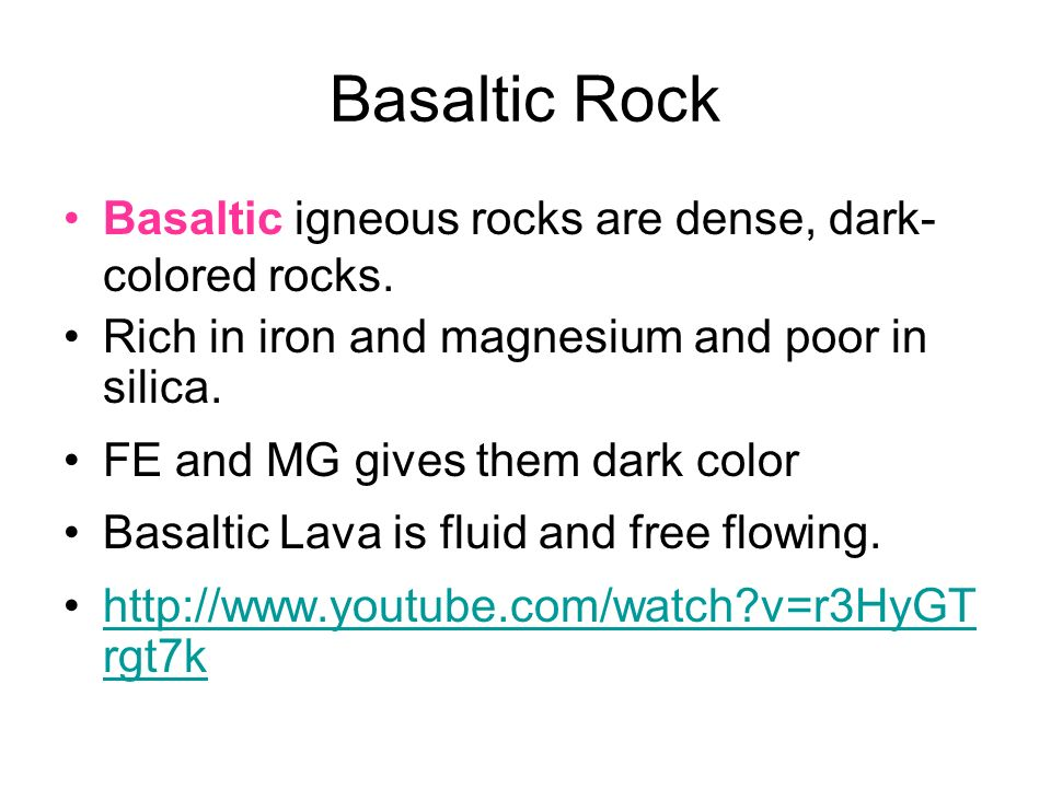 IGNEOUS ROCK Volcanoes eject molten rock Molten rock=magma - ppt ...