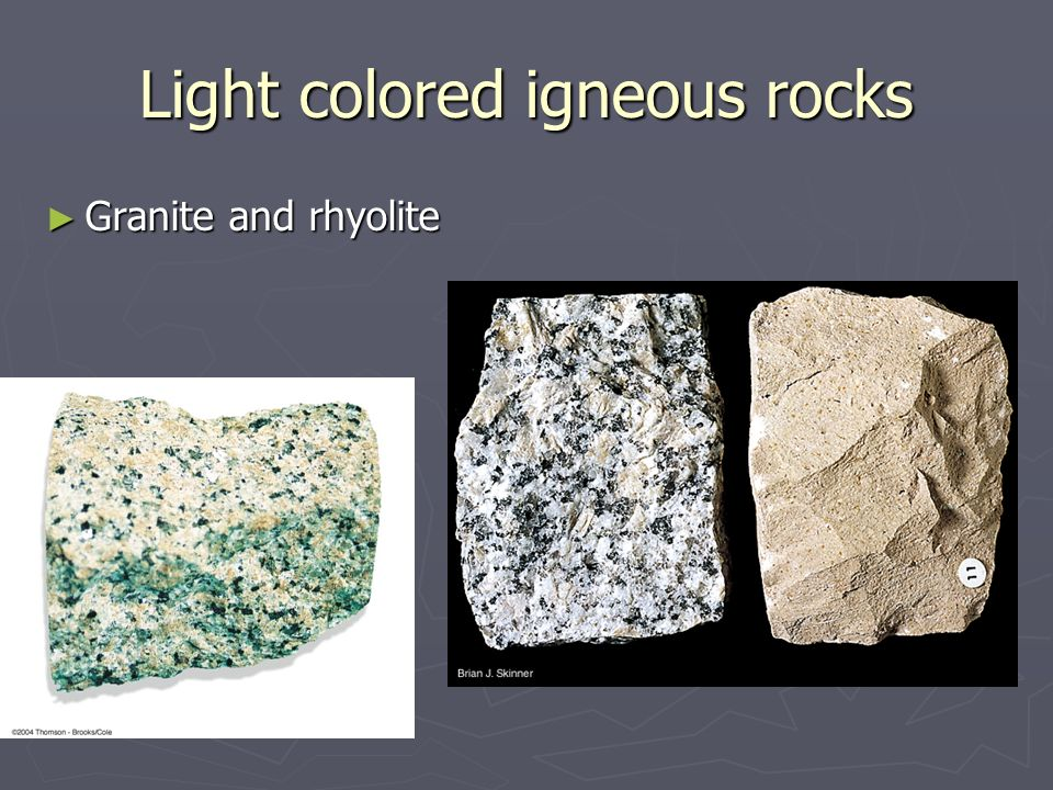 Igneous rocks Crystallize from a molten rock: magma - ppt ...