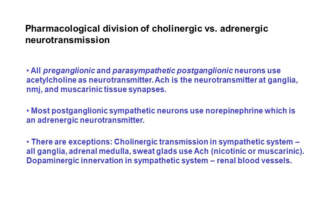 Pharmacological division of cholinergic vs. adrenergic
