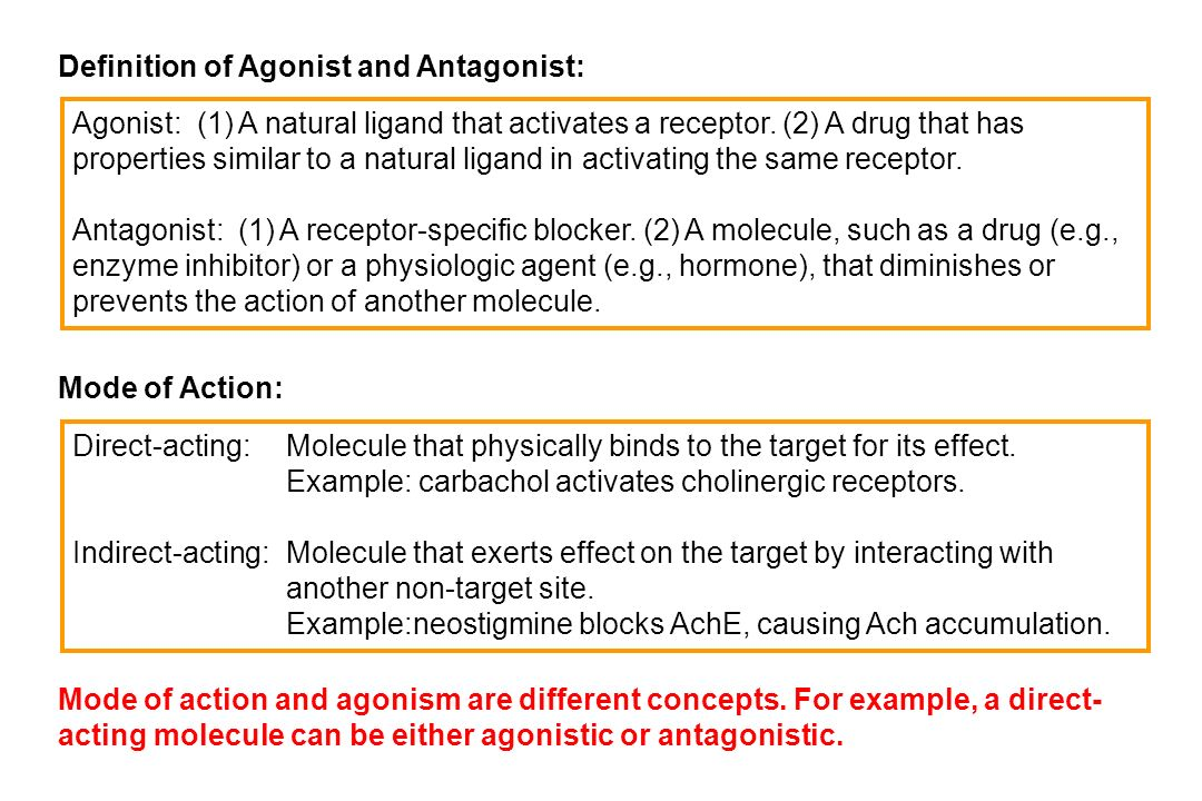 Definition of Agonist and Antagonist: