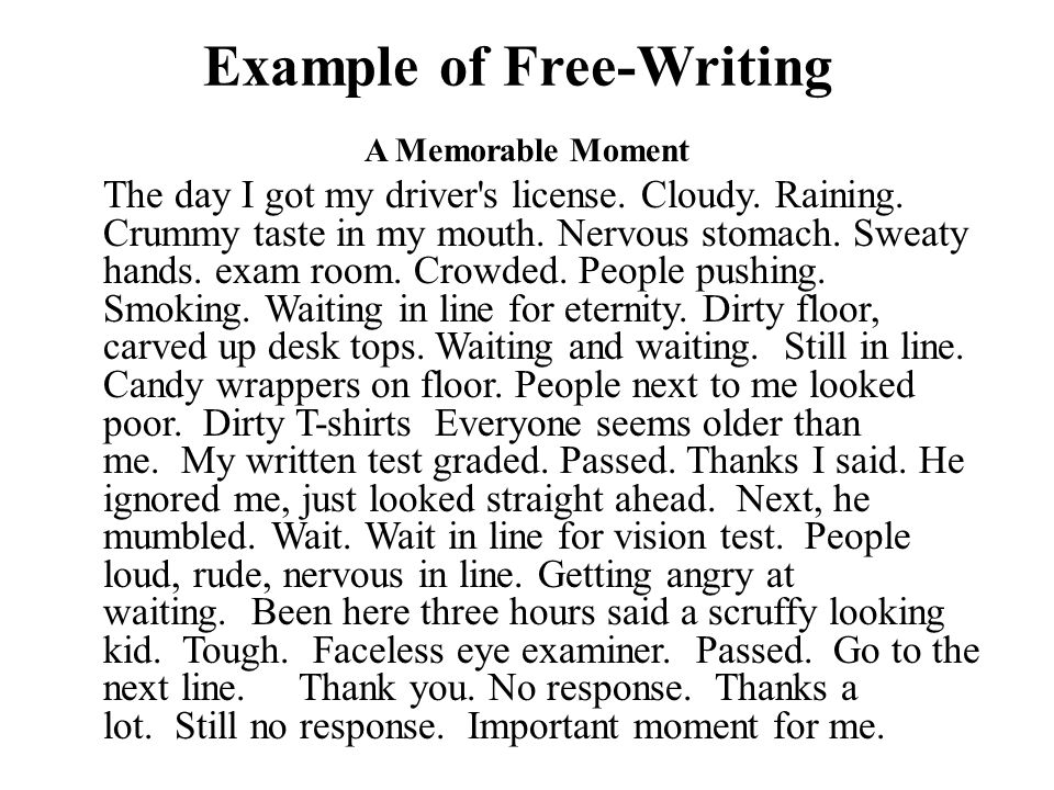 free writing example Unlike most editing & proofreading services, we edit for everything: grammar, spelling, punctuation, idea flow, sentence structure, & more get started now.