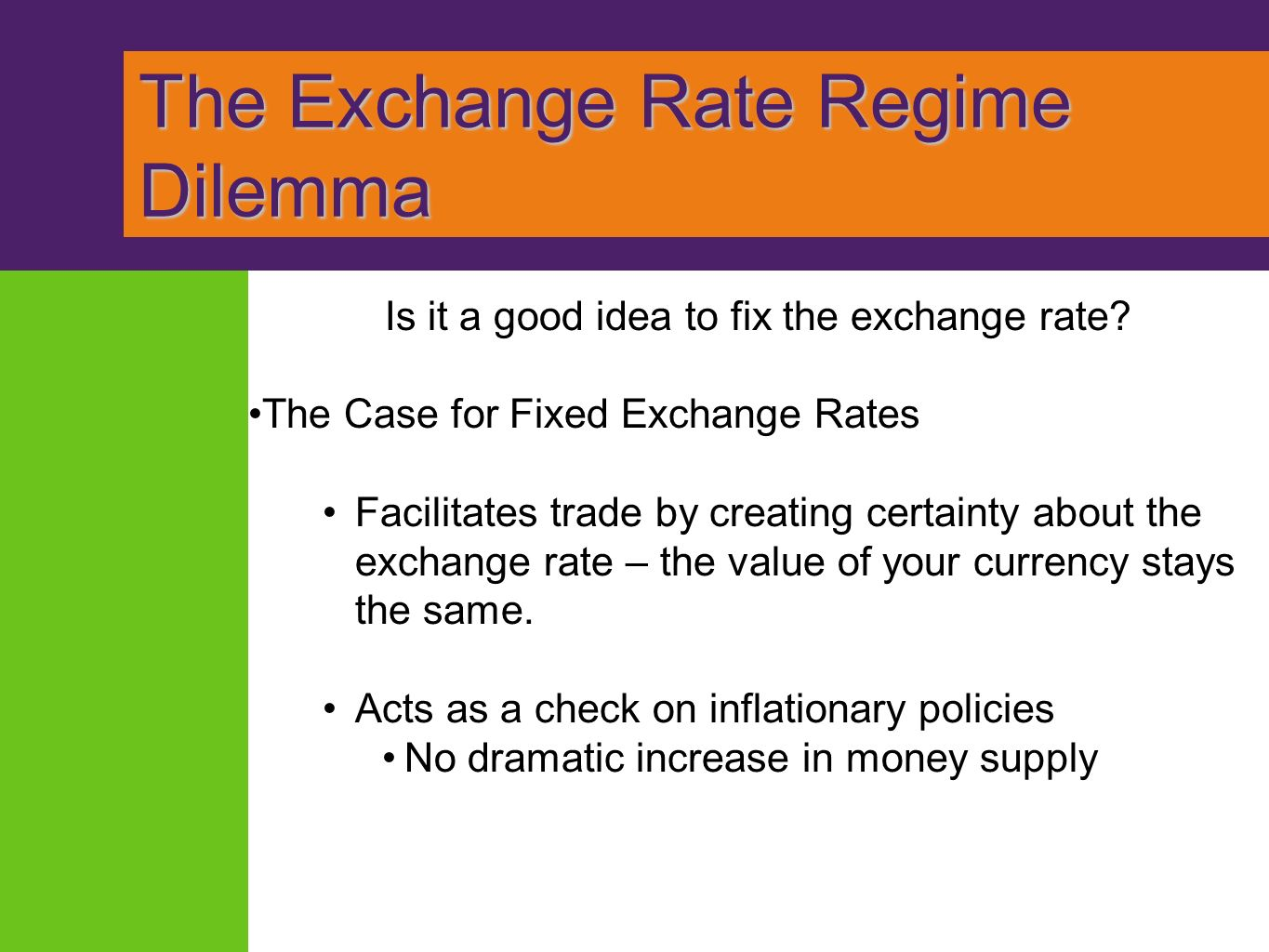 exchange rate policy Us foreign exchange intervention the us monetary authorities occasionally intervene in the foreign exchange (fx) market to counter disorderly market conditions the treasury, in consultation with the federal reserve system, has responsibility for setting us exchange rate policy, while the federal reserve bank new york is responsible for executing fx intervention.