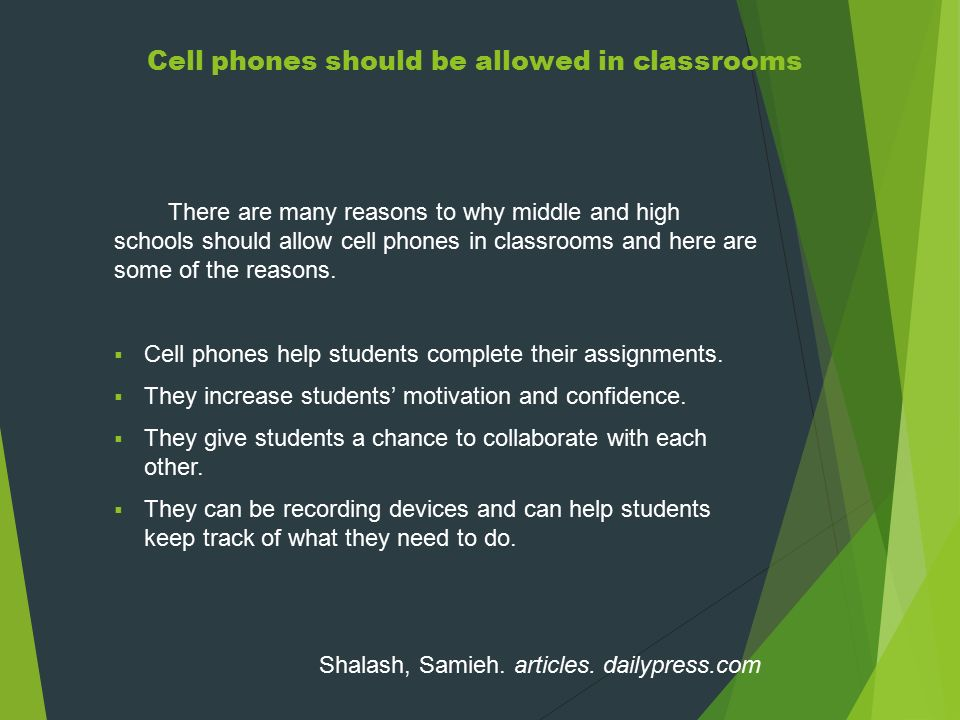 Three paragraph of why cell phones should be in schools