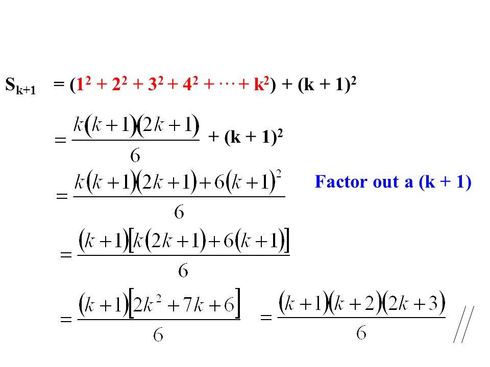 Sk+1 = (12 + 22 + 32 + 42 + . . . + k2) + (k + 1)2 + (k + 1)2 Factor out a (k + 1)