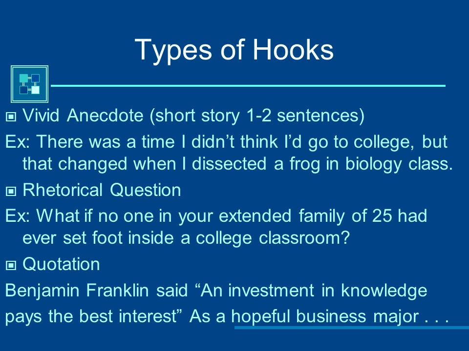 organizing your college admission essay ppt  4 types of hooks
