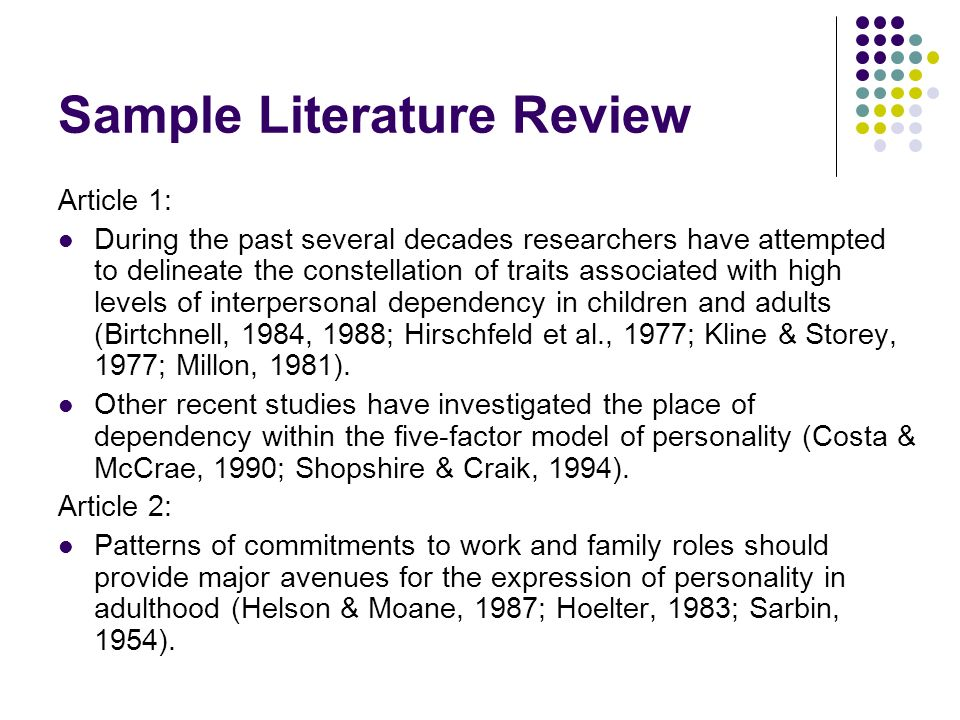 review of literature format example