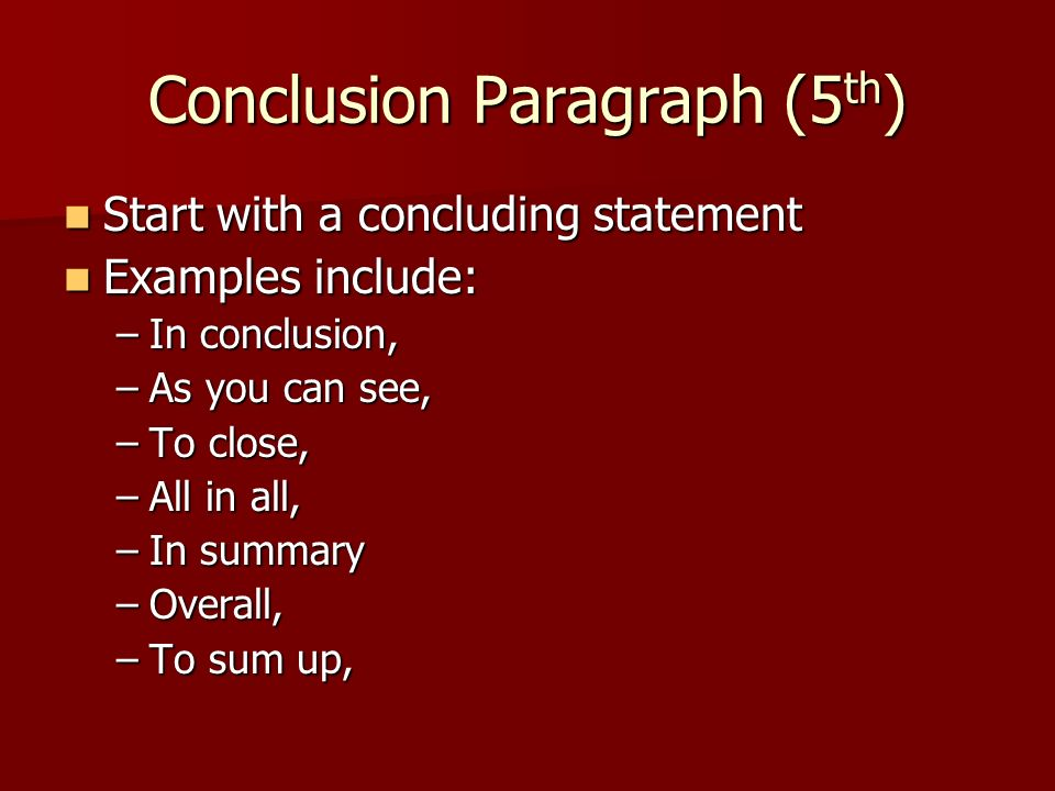 restating thesis in conclusion paragraph Restatement of the thesis and a conclusion paragraph – 308570 umuc many writers choose to begin the conclusion by restating the thesis.