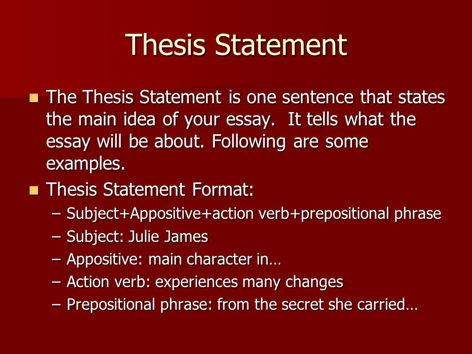 thesis statement on a person How can i write a thesis statement for a descriptive essay  to the topic or thesis statement  is to make a representation of a person,.