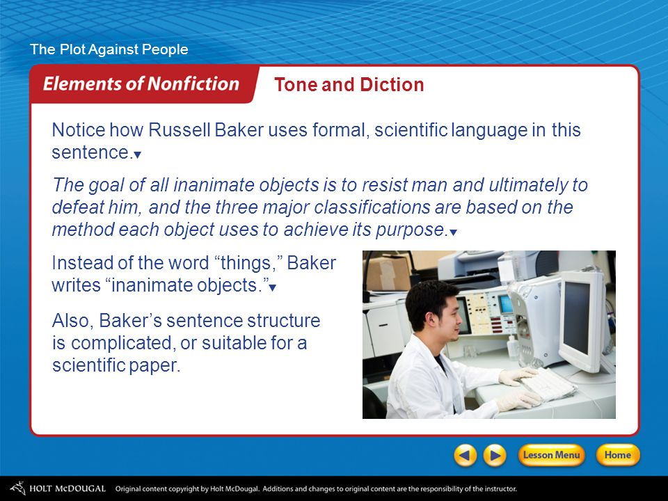the plot against people ppt video online  tone and diction notice how russell baker uses formal scientific language in this sentence
