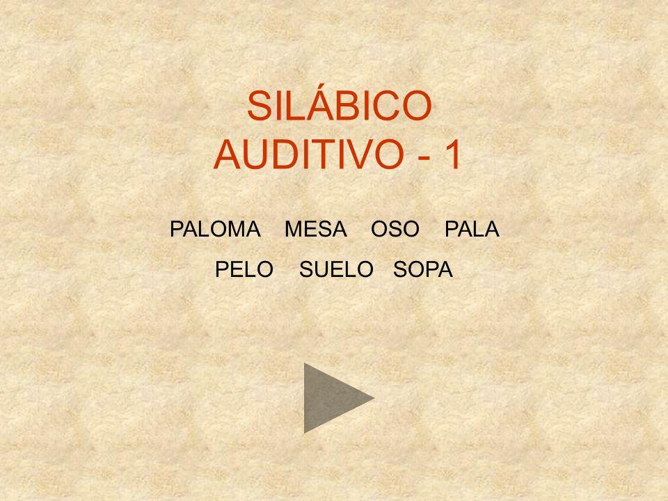 SILÁBICO AUDITIVO - 1 PALOMA MESA OSO PALA PELO SUELO SOPA