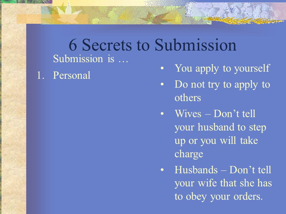 Apply For Don T Tell The Bride: What's So Scary About Submission?