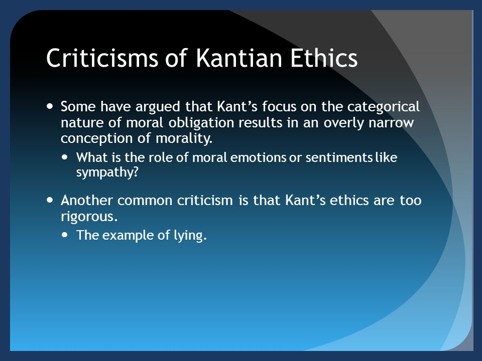 moral theory of kant In fact, what eichmann reveals is that kant's categorical imperative, while seemingly the ultimate in moral principles, is itself somewhat perverse in trying to avoid instrumentalizing moral actions or allowing a person recourse to any type of pathology about it, kant enables a fundamental perversion.