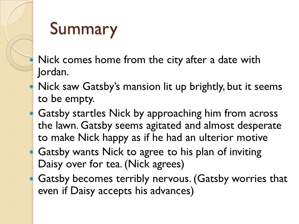 summary of the great gatsby First published 75 years ago, the great gatsby still has a grip on modern sensibilities  both books outlive their abysmal weaknesses of plot and plausibility.
