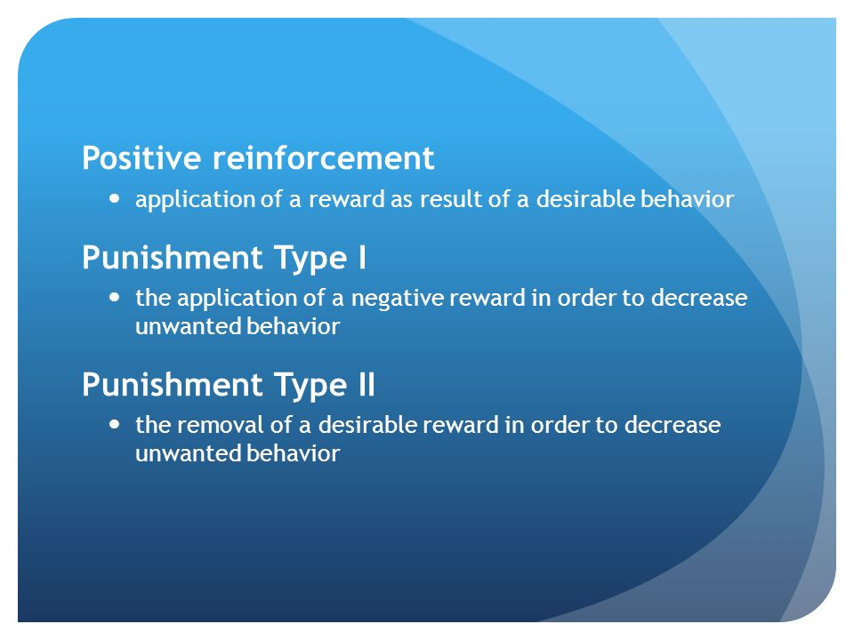 the use of positive and negative reinforcement in the case of kayla There are two types of punishment: positive and negative reinforcement here are some examples to help clear up the confusion.