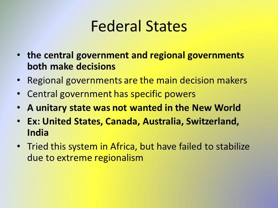 the factors that makes the united states political system a federal system Congress, the president, the cabinet, advisers, agency bureaucrats, federal and state courts, political parties, interest groups, the mediaall of these groups interact to make political decisions in the united states public policy is a goal-oriented course of action that the government follows .