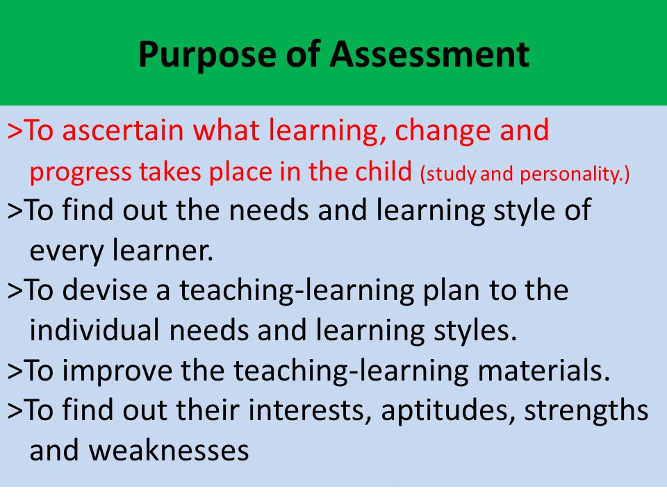 the functions of assessment in learning Some educationalists, in particular the canadian, lorna earl (2003), have differentiated between the roles of the teacher and the student under the assessment for learning umbrella and introduced a further term – assessment as learning assessment as learning essentially describes the role played by.
