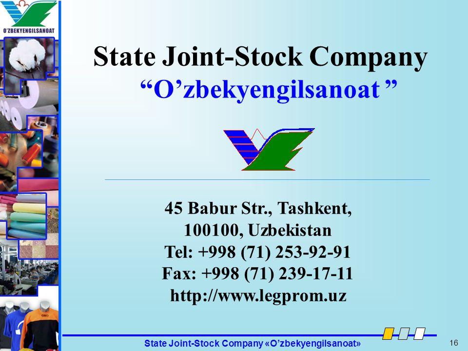 State Joint-Stock Company O'zbekyengilsanoat