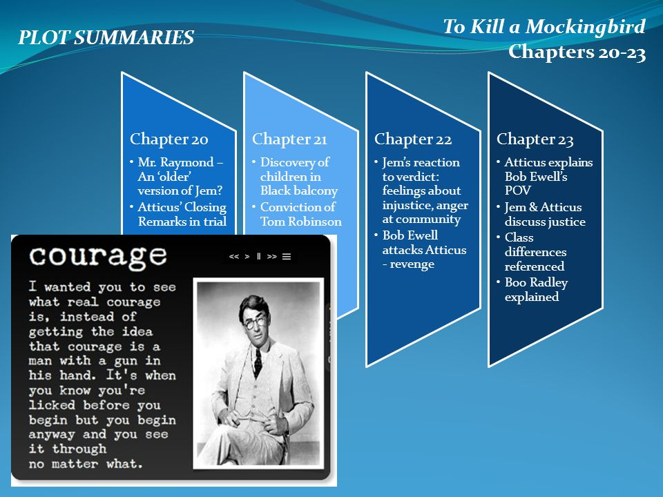 to kill a mockingbird and chapter To kill a mockingbird chapter 4 summary by harper lee at the beginning of this chapter scout says that most of the school year they were told to do meaningless tasks meant to develop group dynamic and that it did not work for her.