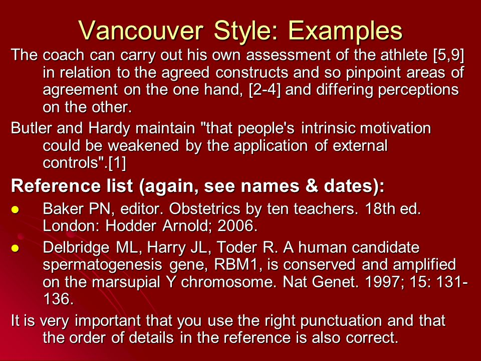 vancouver reference style example pdf
