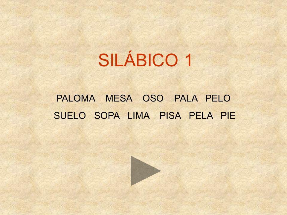 SILÁBICO 1 PALOMA MESA OSO PALA PELO SUELO SOPA LIMA PISA PELA PIE