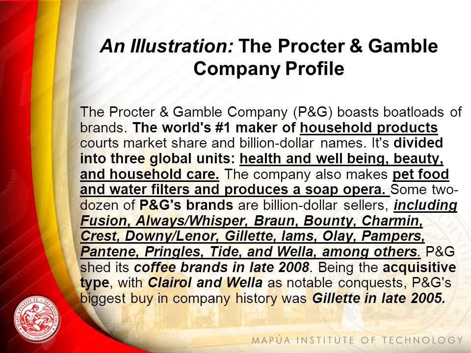 procter gambles acquisition of gillette All of procter & gamble's fragrance acquisitions and divestures 1990 the acquisition of 65 beauty brands from procter g megabrand gillette mean that.
