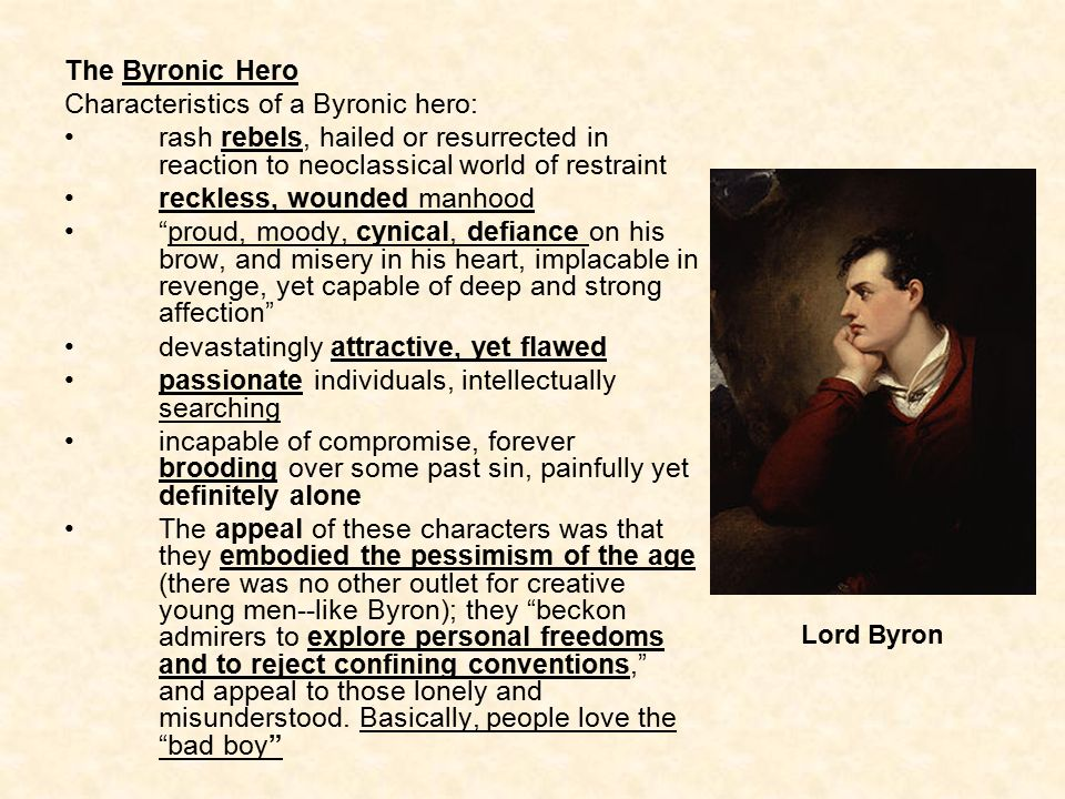 the r tic period ppt video online  13 characteristics of a byronic hero