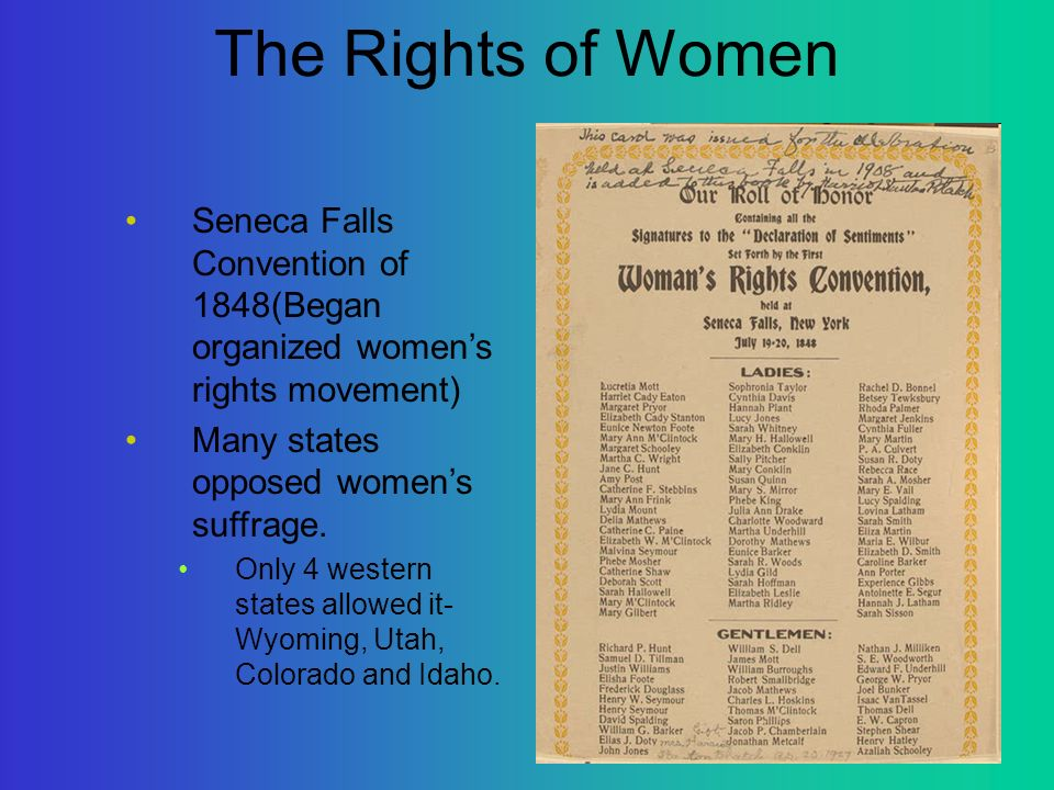 an overview of the womens right movement in 1848 Suffrage is the right or privilege of voting and is frequently incorporated among the the suffrage movement in america, 1848-1920 sixth ed new york: ep.