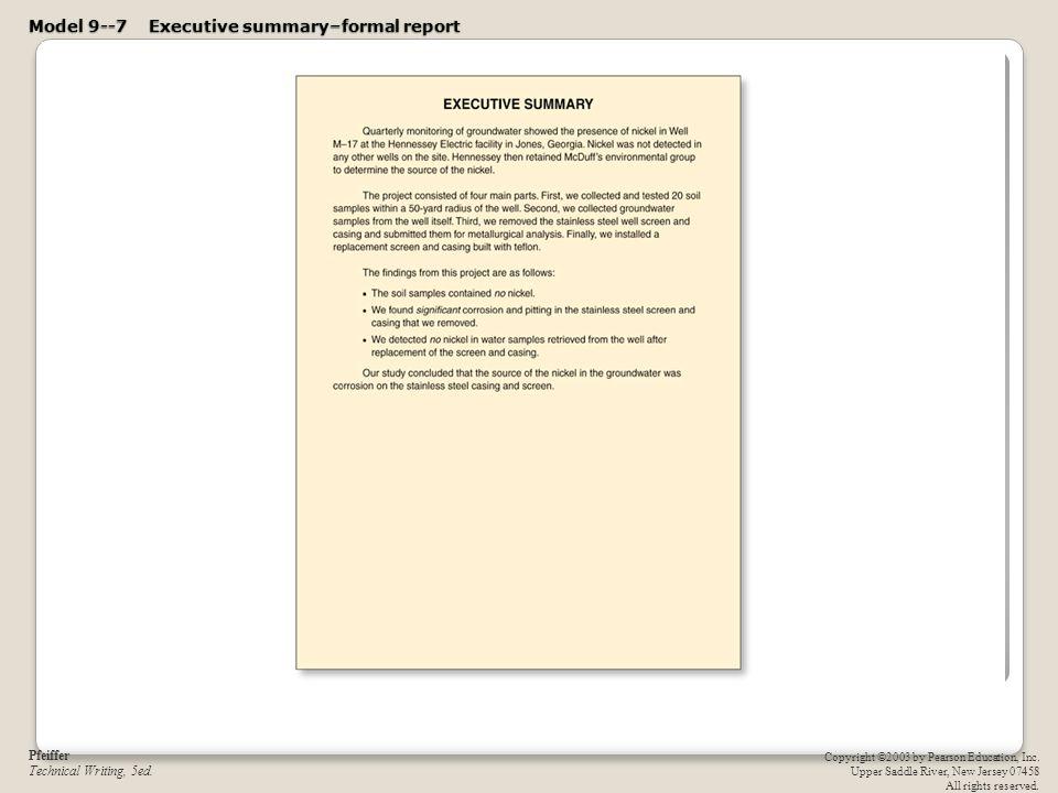 Model 9  7 Executive Summaryu2013formal Report