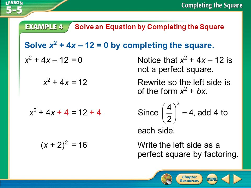 Solve x2 + 4x – 12 = 0 by completing the square.