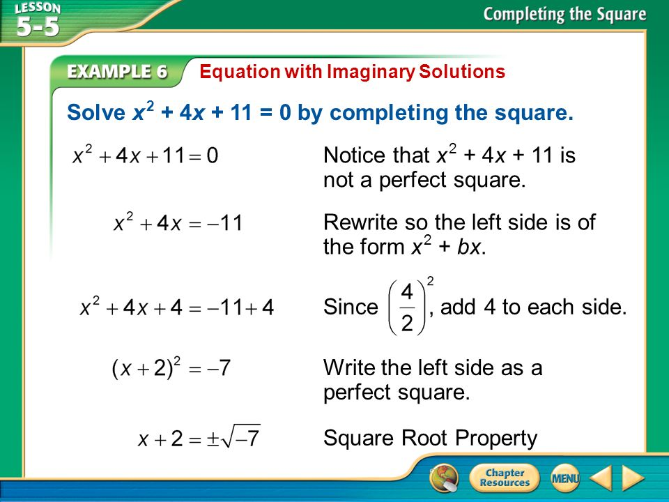 Solve x 2 + 4x + 11 = 0 by completing the square.