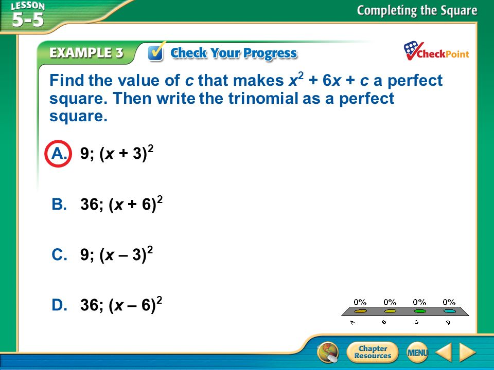 Find the value of c that makes x2 + 6x + c a perfect square