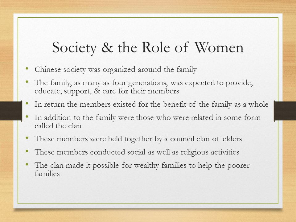 the role of women in the chinese society March 8th is world women's day in germany, women receive a little gift such as  candy or roses, while in china, all women get half a day off the role of women.