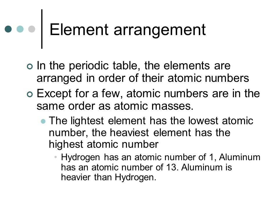 Atomic structure and the periodic table ppt download element arrangement in the periodic table the elements are arranged in order of their atomic urtaz Gallery
