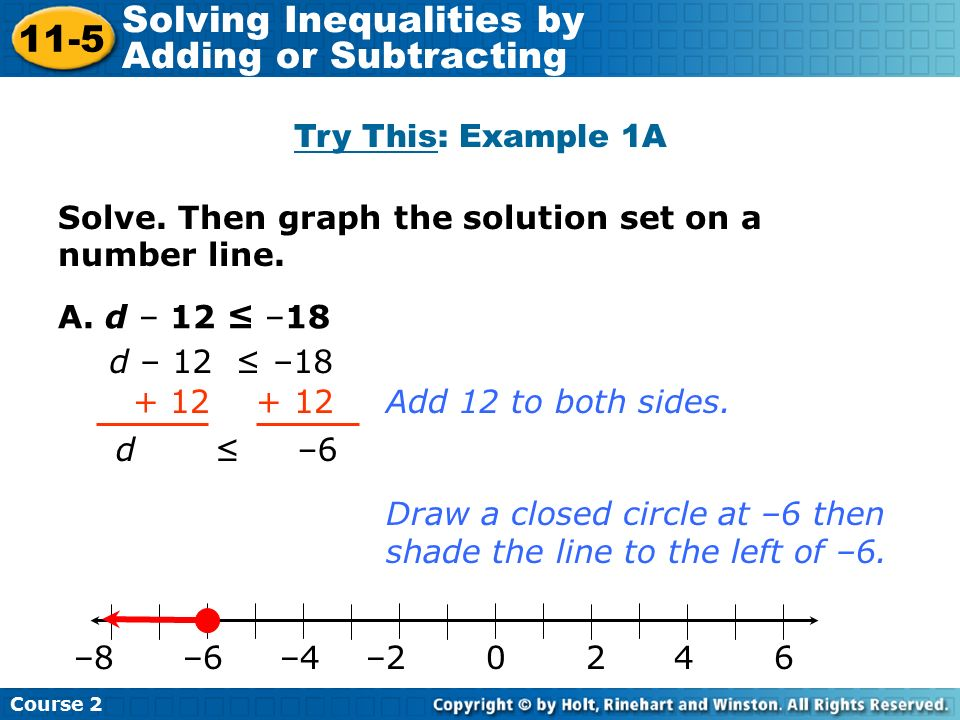 Drawing Using Inequality Number Lines : Solving inequalities by adding and subtracting ppt download