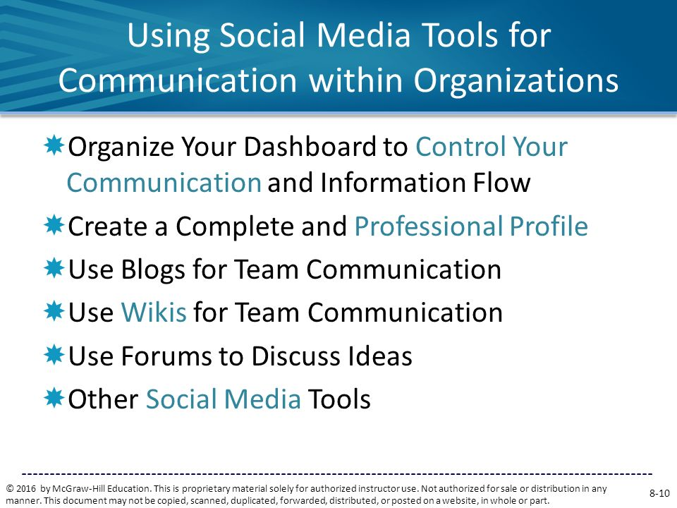 Using Social Media Tools for Communication within Organizations