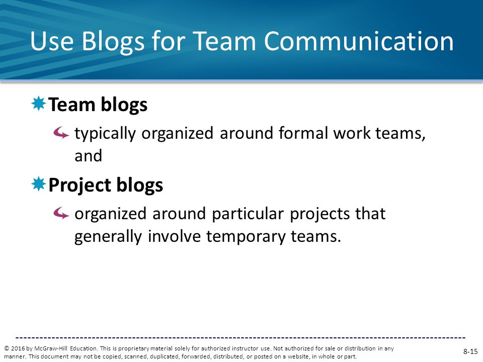 Use Blogs for Team Communication