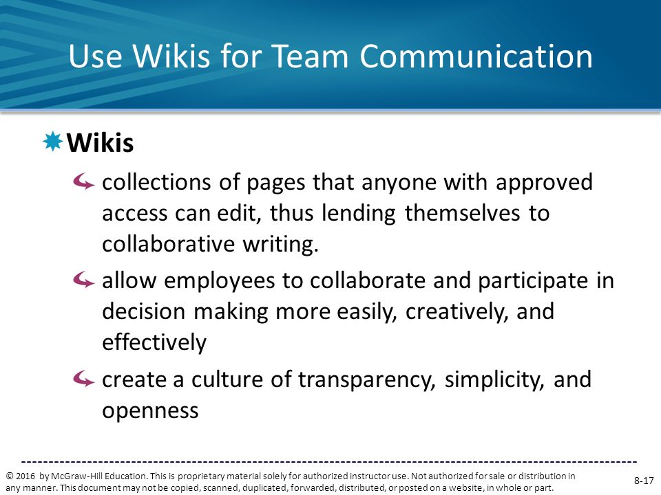Use Wikis for Team Communication