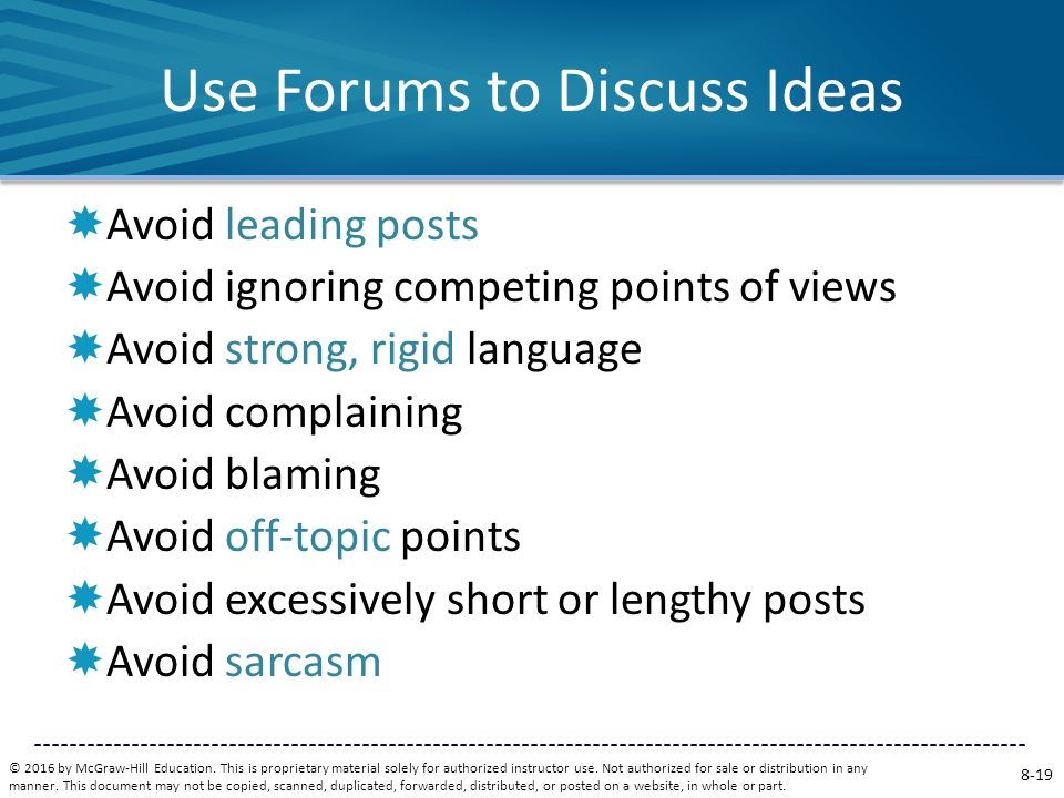 Use Forums to Discuss Ideas