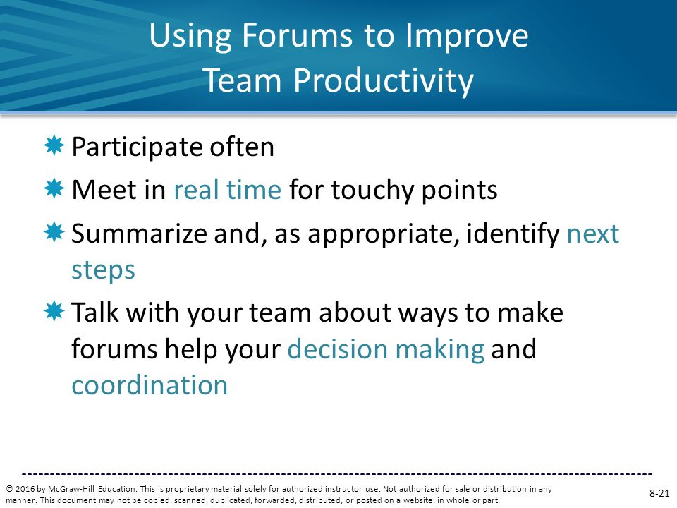 Using Forums to Improve Team Productivity